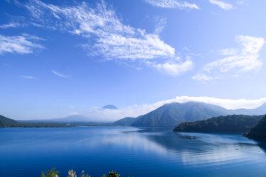 本栖湖からの富士山。